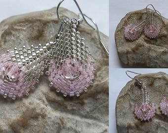 Woven earrings pink and silver