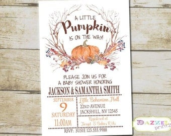 Little Pumpkin Baby Shower Invitation, Pumpkin Baby Shower, Fall Baby Shower, Boho Baby Shower Invitation, Rustic Baby Shower, 9822-A