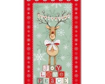 "Summer Sale- Joy, Love Peace Panel 24"" x 44""~Christmas Cotton Fabric by~Studio E~Fast Shipping HC275"