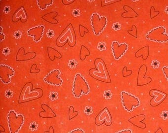 "FALL SALE - Valentine Fabric ""Table for Two"" by Sandy Gervais for Moda on Lipstick Red, By the Yard, 43/44 Inches Wide,Hearts All Over"