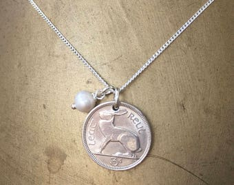 Irish coin necklace, 1961, 1962, 1963 or 1964 Ireland hare, rabbit coin pendant, 53rd, 54th, 55th or 56th birthday gift for her, woman, mum