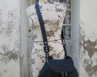 """Fisherman"" 100% leather shoulder bag and handmade red Navy Blue"