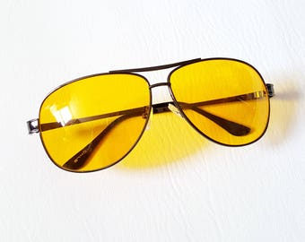 Yellow Aviator Sunglasses Retro 70s Sunglasses Fear and Loathing Night Vision Glasses