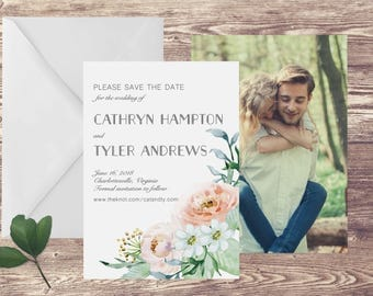 Floral Watercolor Save the Date Card, Watercolor Floral Save the Date, Save Our Date, Save the Date Floral, Save the Date Watercolor