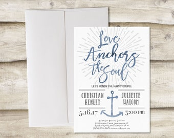 Engagement Party Invitation, Love Anchors the Soul Couples Shower Party Invitation, Nautical Engagement Party Invite, Couples Wedding Shower