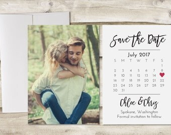 Photograph Save the Date Card, Calendar Save the Date, Save the Date with Photo, Save Our Date with Photograph, Engagement Announcement