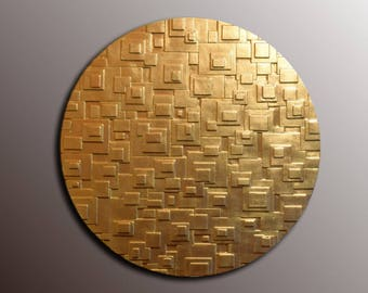 Attirant Round Gold Leaf Wall Art   Gold Wall Sculpture   3D Wall Art   Textured Wall