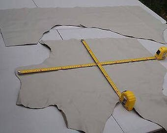 x2 Beige grainy upholstery cowhide leather pieces/off-cuts Soft pliable