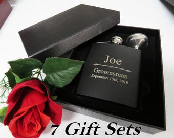 Set of 7 Personalized Black Hip Flask Set for Men and Women // Bridesmaid, Maid of Honor, Best Man Flasks // Groomsmen Gift Ideas