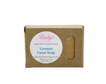 ORGANIC Grass Fed Tallow Soap -- Turmeric -- Facial Soap -- Organic Soap -- Tallow Soap -- 4oz