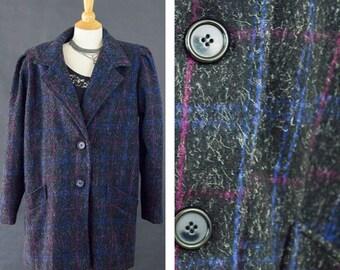 Vintage Winter Coat, 80s Oversized Coat, New York Girl Gunge Wool Coat, Black Plaid Outterwear Coat, Dressy Trench Coat, Women's Size 12