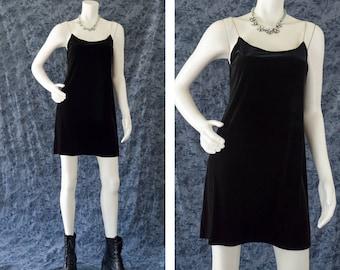 Black Velvet Dress, 90s Velvet Dress, Rhinestone Spaghetti Strap Dress, 90s Grunge Dress, Rave Dress, BlackMini Dress, Women's Size Medium