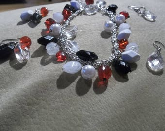 Charm  Bracelet // Jewelry set // Classic colors // Gifts for her // Date night Jewelry