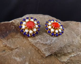 1970s Patriotic Clip Vintage Earrings   Red, White, and Blue July 4