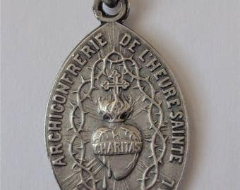 Antique French Religious Medal Sacred Heart of Jesus
