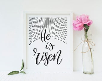 He is Risen Printable, Christian decor, Easter quote, Scripture Print, digital download