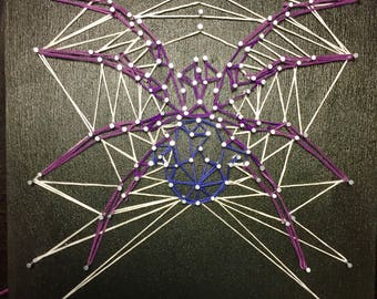 Ombre Spider in Spider Web String Art on Painted Black Reclaimed Wood