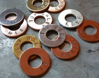 Stamped Washer Charms - Buildable Recognition - Stamped Washers - Bag Charms - Team Incentive
