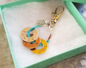 Stamp Charm Tag Set - Buildable Recognition - Keychain Charms - Bag Charms - Team Incentive