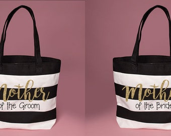 Cute Mother of the Groom // Mother of the Bride Black & White Striped Tote with Glitter Design