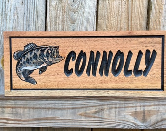 Outdoor Wood Sign, Carved plaque, Large Mouth Bass, personalized sign, Wood Signs, Carved Signs, Bass Fishing, Gifts for Dad, Rot Resistant