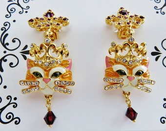 Lunch At The Ritz Queen Kitty Dangle Clip Earrings/ New Never Worn