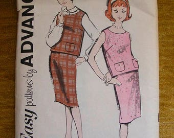 """ON SALE 35% OFF Vintage Advance Sewing Pattern 2785 Junior Size 10 Bust 29"""" Blouse / Overblouse / Skirt"""