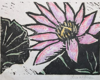 Waterlily Block Print