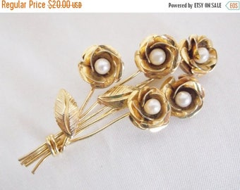 SALE Vintage Retro Faux Pearl 1/20 12K Gold Rose Flower Bouquet Brooch Pin Jewelry Gift