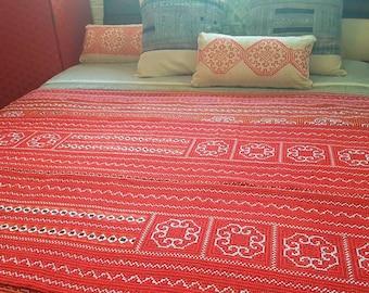 Bespoke tribal bedspread with hemp border