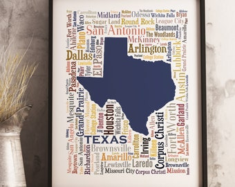 Texas Typography Map Art Print, Texas Poster Print, Texas city map print, Texas Poster Print, Choose your color and size