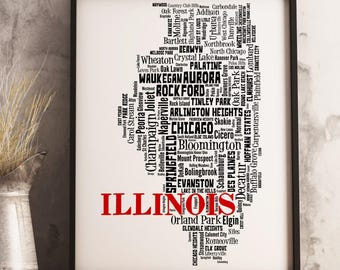 Illinois Typography Map Art Print, Illinois City Map Art, Illinois Wall Art, Illinois Poster, Illinois Decor, Illinois Gift