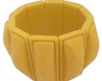 Vintage Buttercup Yellow Lucite Wide Stretch Bracelet Bangle Cuff Costume Accessory Pirate Prop Jewelry