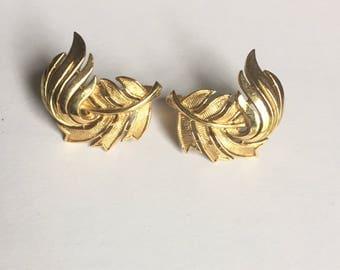 Trifari Gold Leaf Earrings