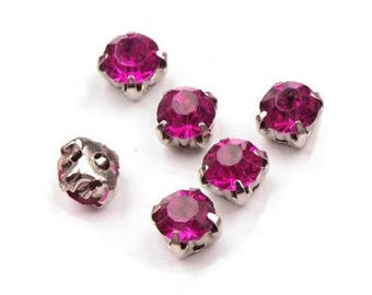 10 crystals set 5 mm fuchsia pink