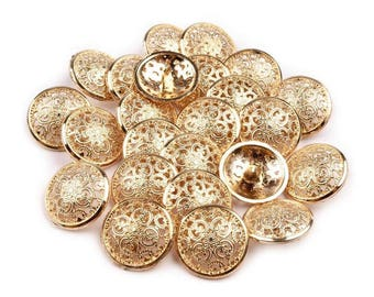 5 buttons 21 mm antique gold chiseled arabesques