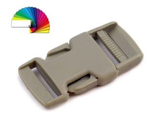 2 Plastic Side release Buckle with Strap Adjuster width 25 mm