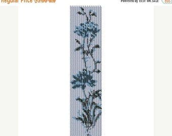 SALE HALF PRICE off Instant Download Beading Pattern Loom Stitch Bracelet Icy Blue Flower Seed Bead Cuff