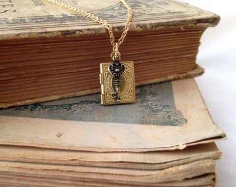 Small Locket necklace photo book raw brass ornate bronze key