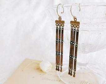Antique bronze chain 14 k gold filled earrings