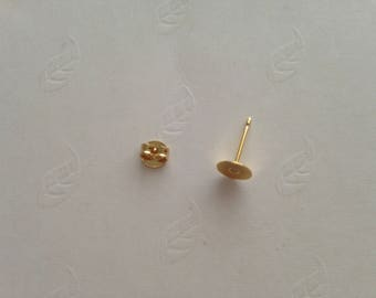 5 pair (= 10 pieces) Golden stand 6mm tray cabochon earrings