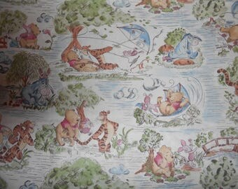 Winnie the Pooh toile Days of Hunny. Cotton by Springs. Bty and large remnants.