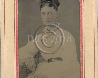 AntiqueTintype Photograph  Wide Eyed Woman Tinted Cheeks