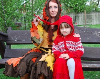 SALE Kids Red Riding Hood Sweater Coat Fairy Pixie Elven Dryad Nymph Gnome Patchwork Hoodie Coat Fantasy Woodland OOAK Gypsy Boho Hippie