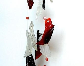 50% OFF Anniversary Sale Glass wind chimes - tumbled glass mobile - glass wind chime