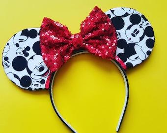 Mickey Mouse Ears  || Mickey Ears || Mouse Ears Headband || Minnie Mouse Ears || Sparkle Mouse Ears || RTS