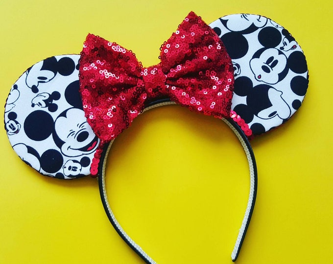 Mickey Mouse Ears  || Mickey Ears || Mouse Ears Headband || Minnie Mouse Ears || Sparkle Mouse Ears || RTS