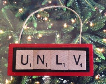 UNLV University of Nevada Las Vegas Rebels Christmas Ornament Scrabble Tiles