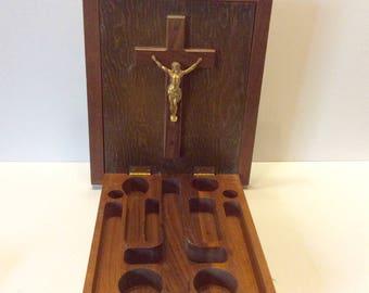 Vintage Christ Christian last rights, baptism, sacraments box. Lilthograph. Free ship to US