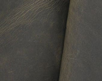 "Pre-cut Rustic Charcoal Leather Oil Tan Cow Hide 8""x 10"" 4-5 ounces DE-57492 (Sec.7,Shelf 5,B)"